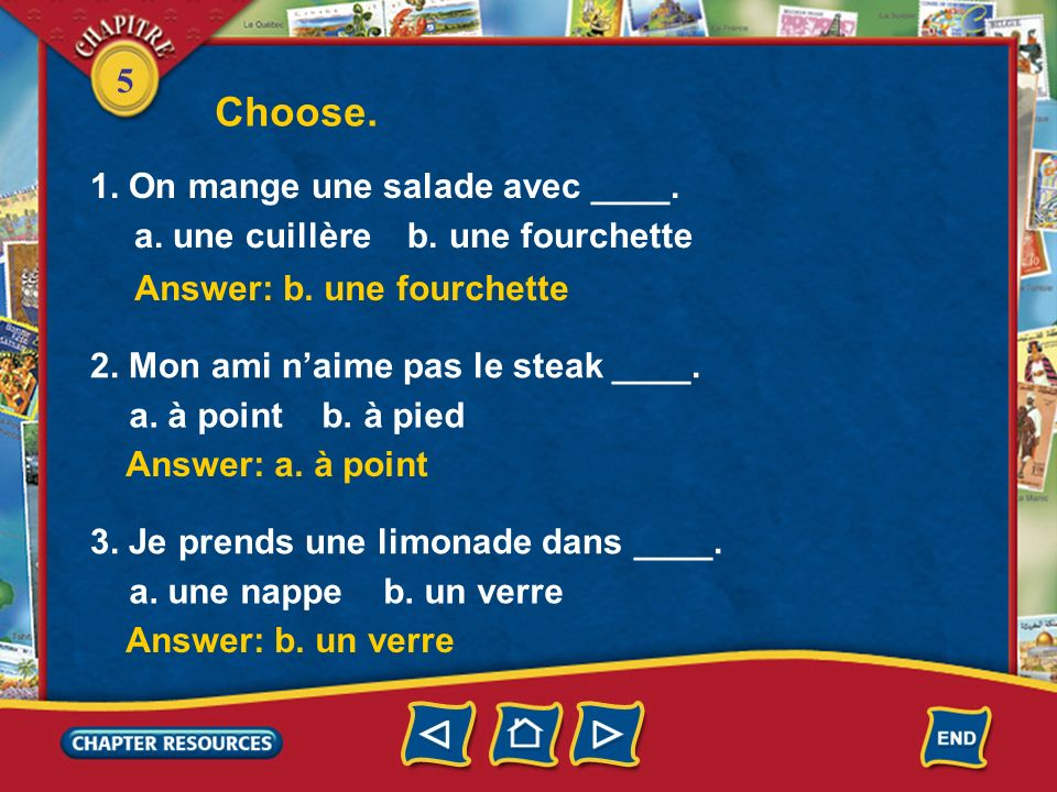 Choose. 1. On mange une salade avec ____.