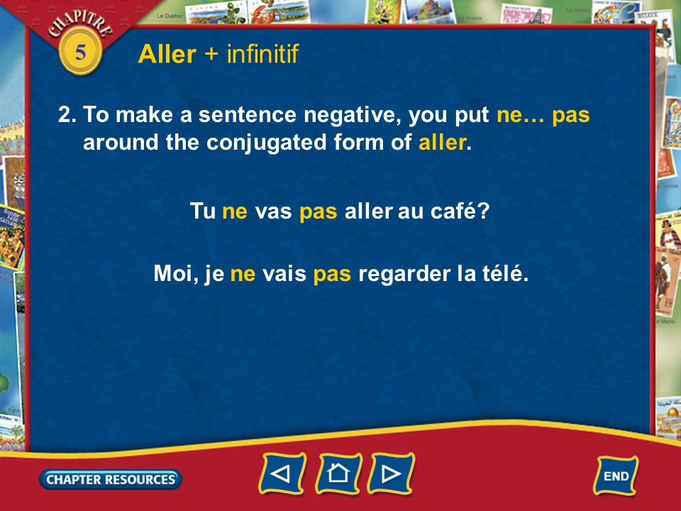Aller + infinitif 2. To make a sentence negative, you put ne… pas