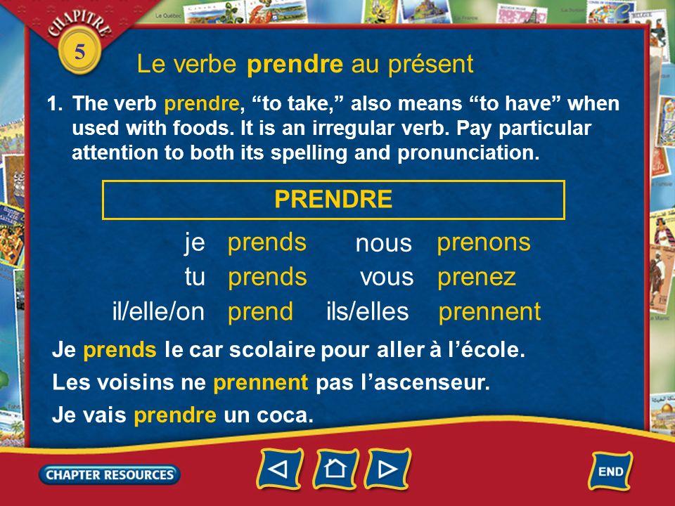 Le verbe prendre au présent