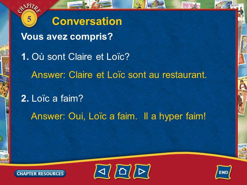 Conversation Vous avez compris 1. Où sont Claire et Loïc