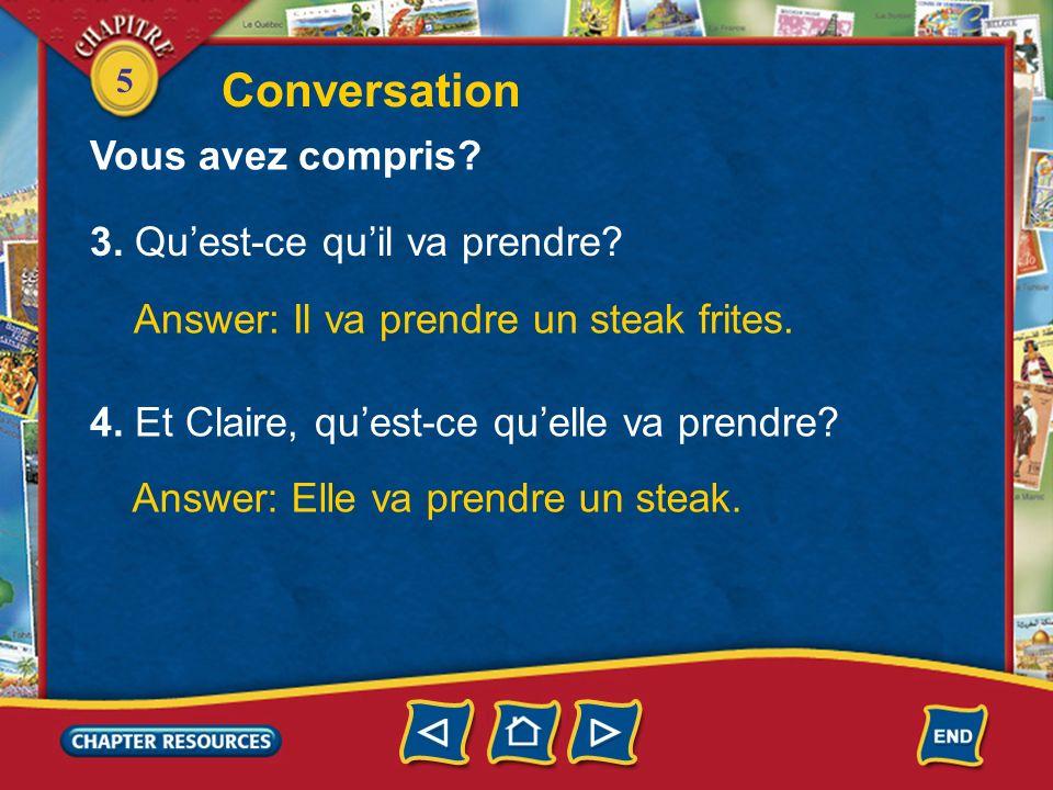 Conversation Vous avez compris 3. Qu'est-ce qu'il va prendre