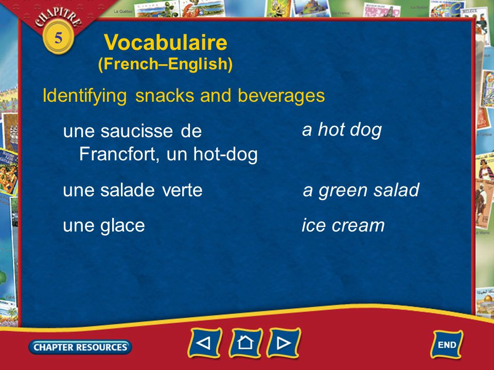 Vocabulaire Identifying snacks and beverages une saucisse de