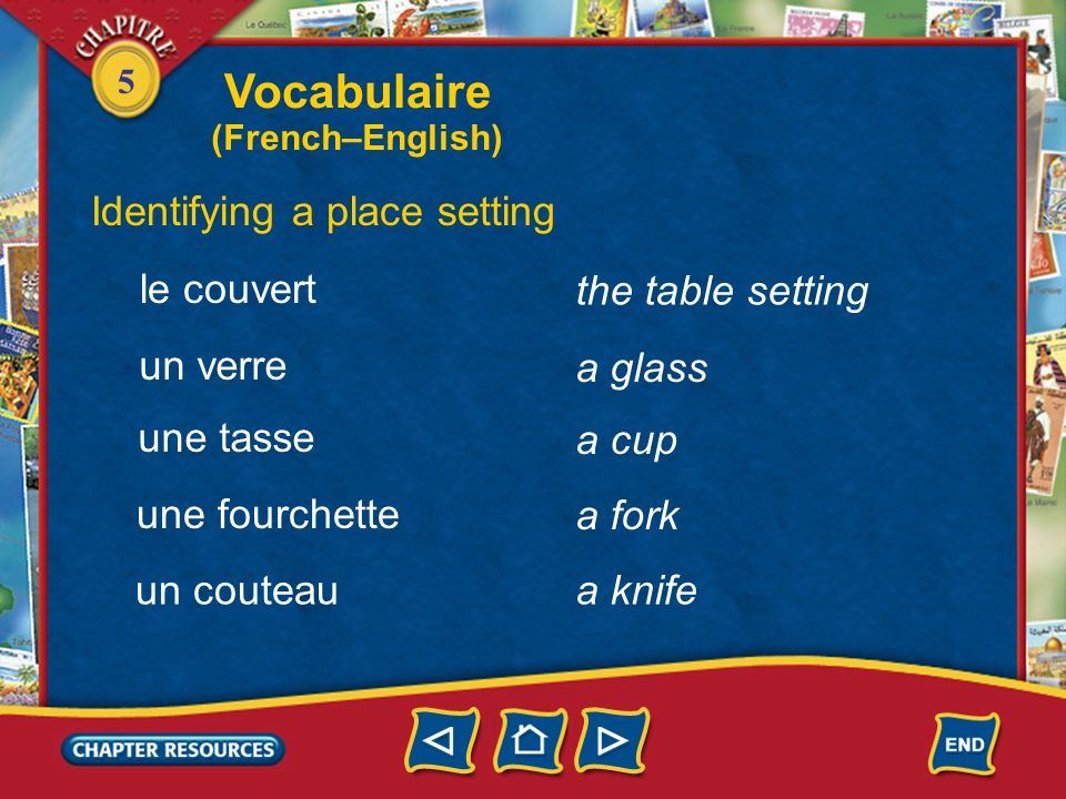 Vocabulaire Identifying a place setting le couvert the table setting