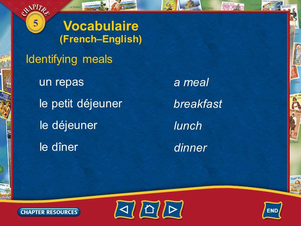 Vocabulaire Identifying meals un repas a meal le petit déjeuner