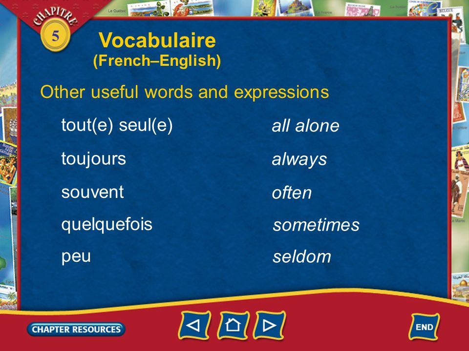 Vocabulaire Other useful words and expressions tout(e) seul(e)