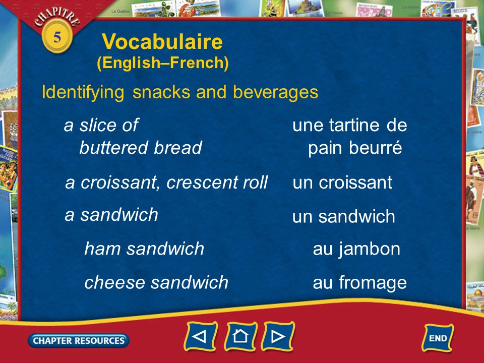 Vocabulaire Identifying snacks and beverages a slice of buttered bread