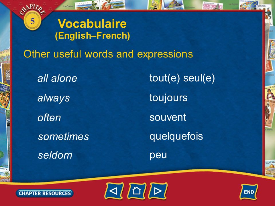 Vocabulaire Other useful words and expressions all alone