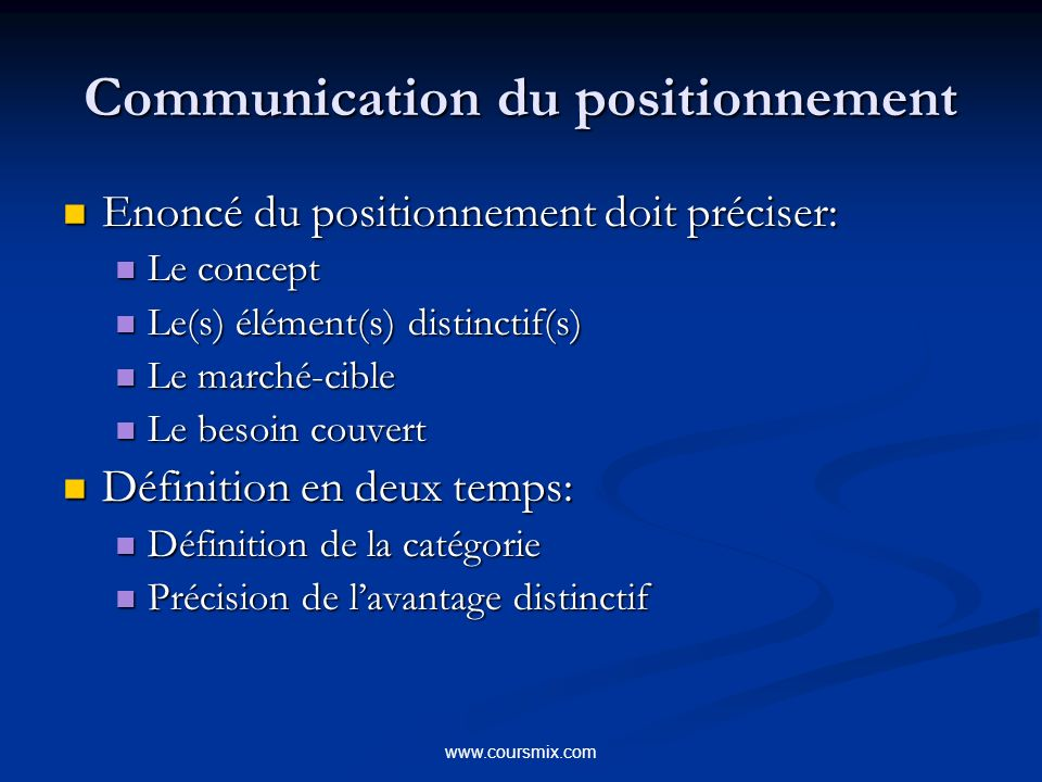 Communication du positionnement