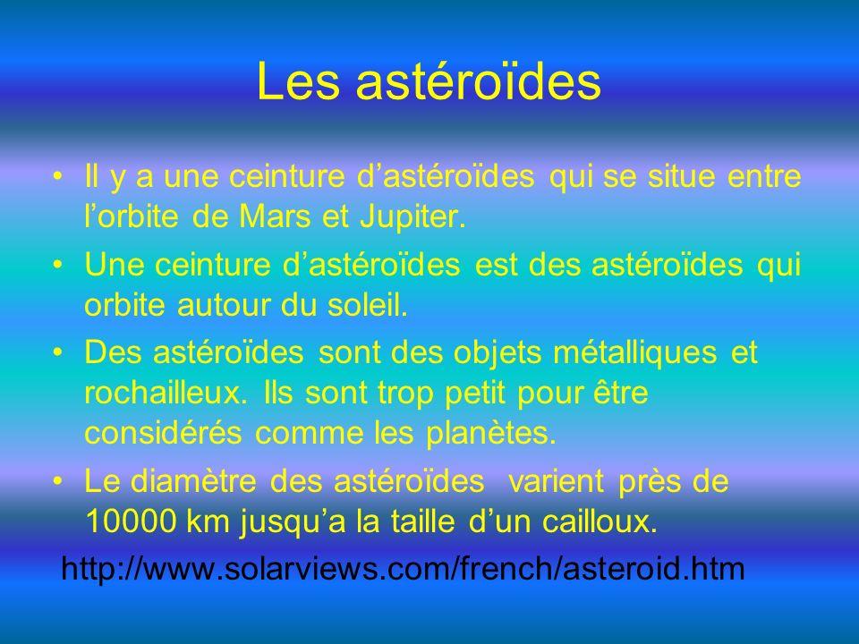 Les astéroïdes Il y a une ceinture d'astéroïdes qui se situe entre l'orbite de Mars et Jupiter.