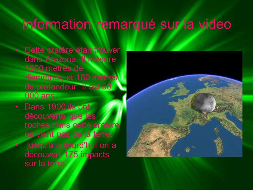 Information remarqué sur la video