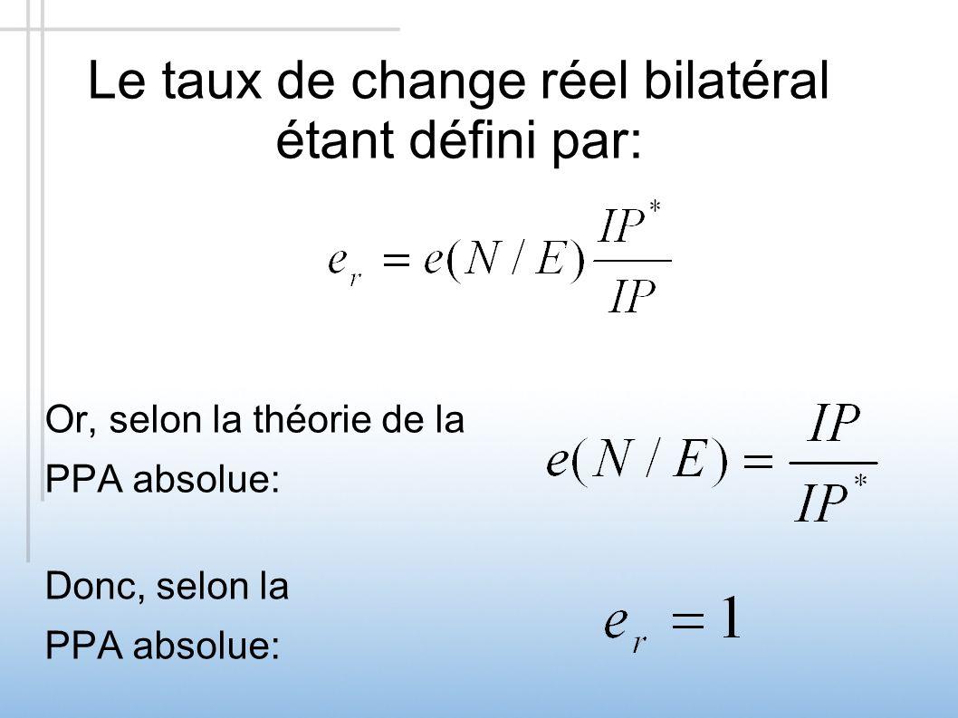 Le taux de change réel bilatéral étant défini par: