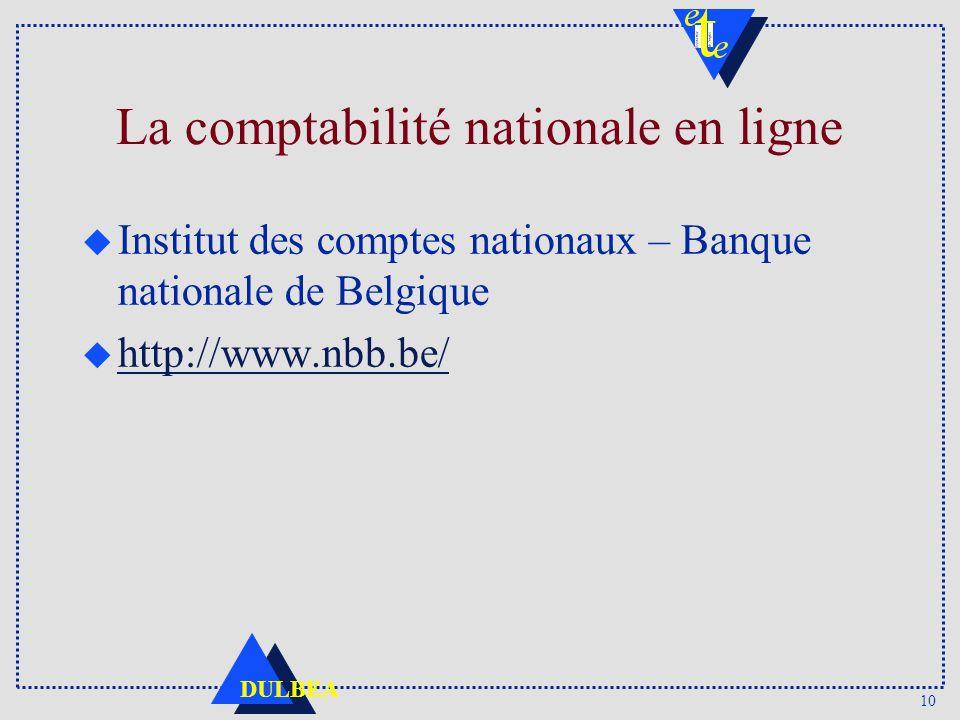La comptabilité nationale en ligne