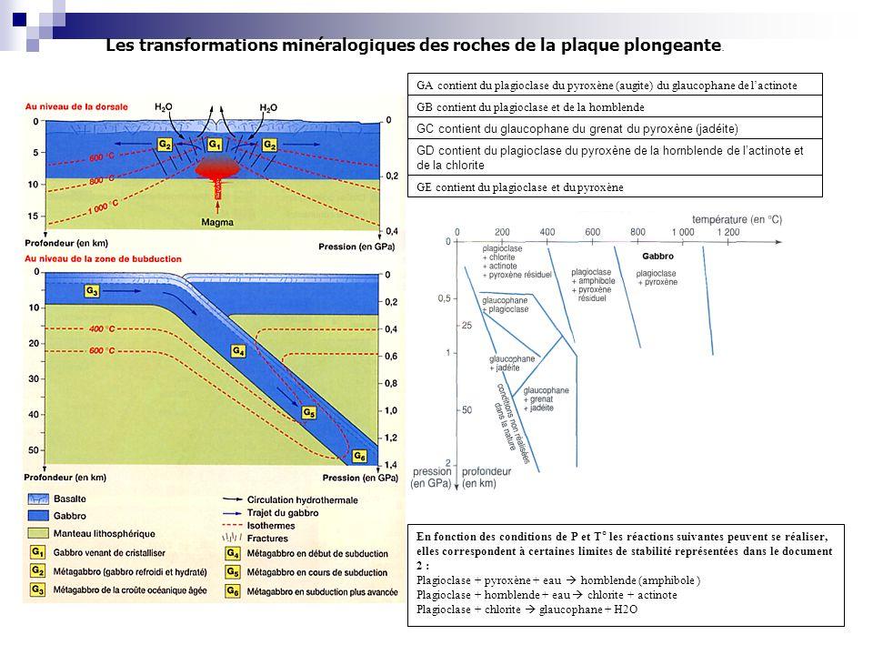Les transformations minéralogiques des roches de la plaque plongeante.