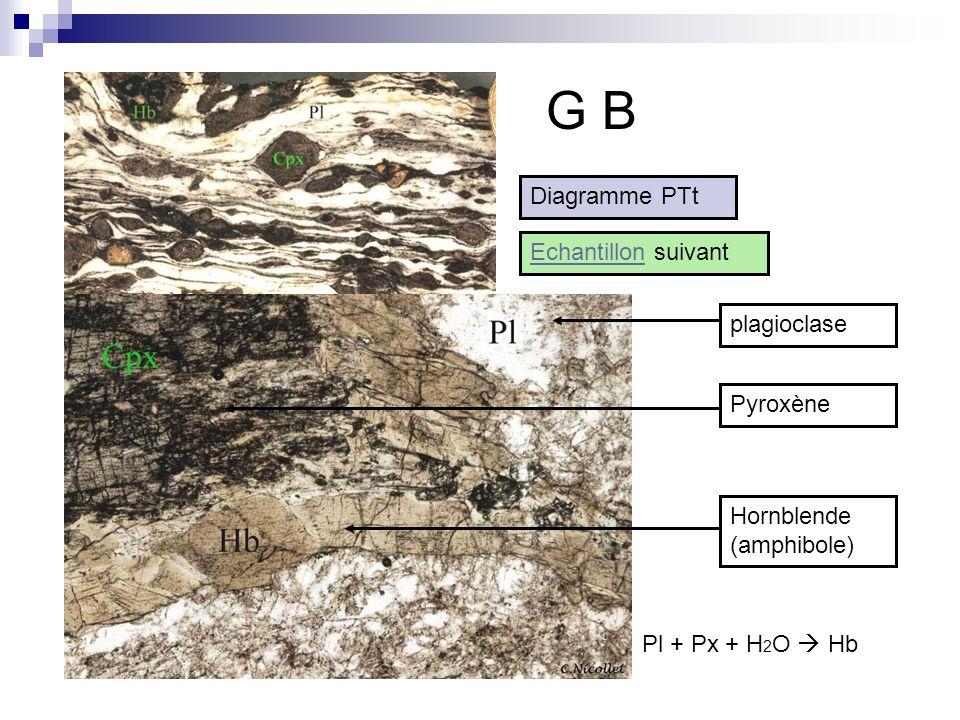 G B Diagramme PTt Echantillon suivant plagioclase Pyroxène Hornblende