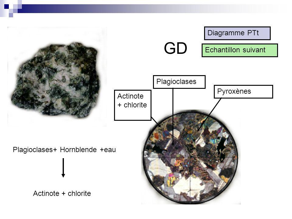 GD Diagramme PTt Echantillon suivant Plagioclases Pyroxènes