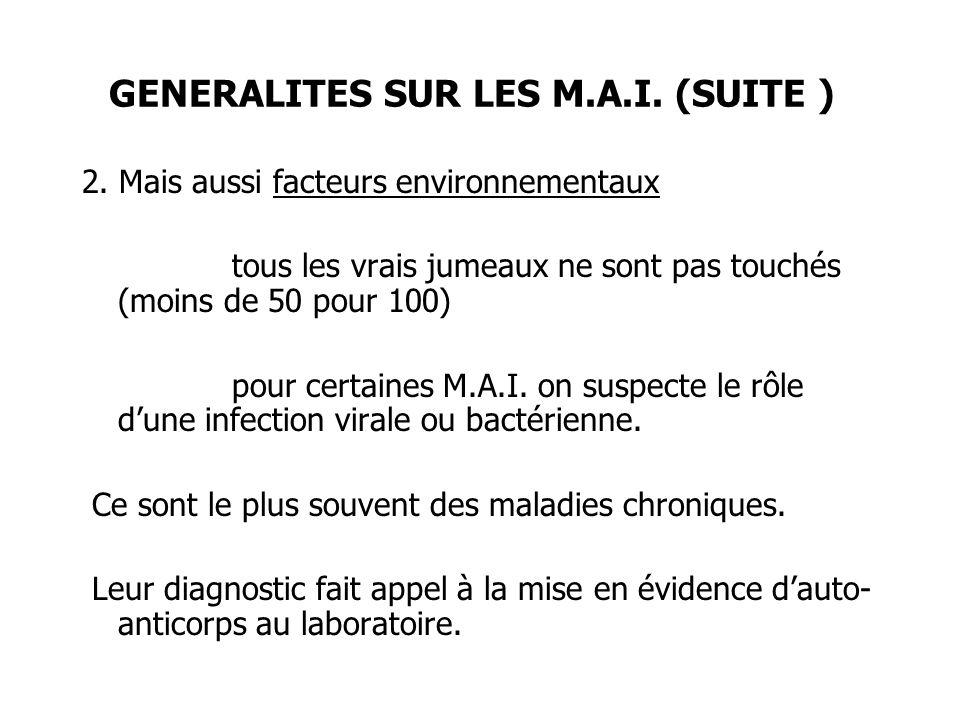 GENERALITES SUR LES M.A.I. (SUITE )
