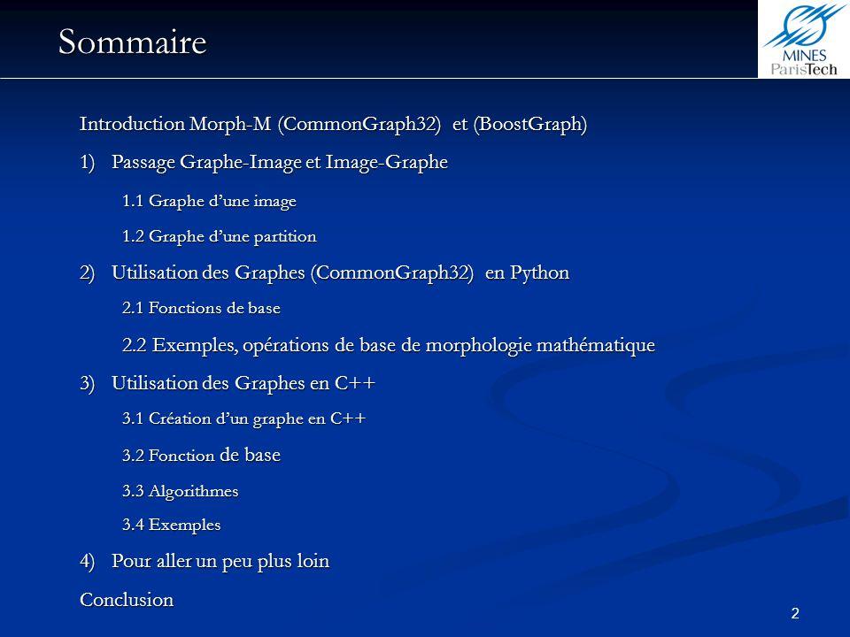 Sommaire Introduction Morph-M (CommonGraph32) et (BoostGraph)