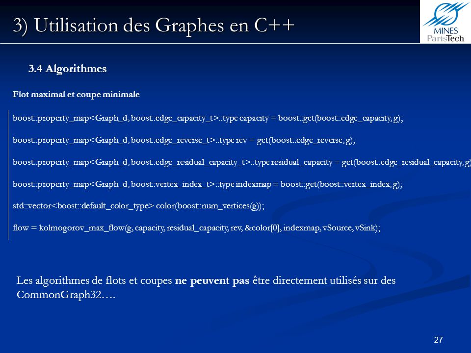 3) Utilisation des Graphes en C++