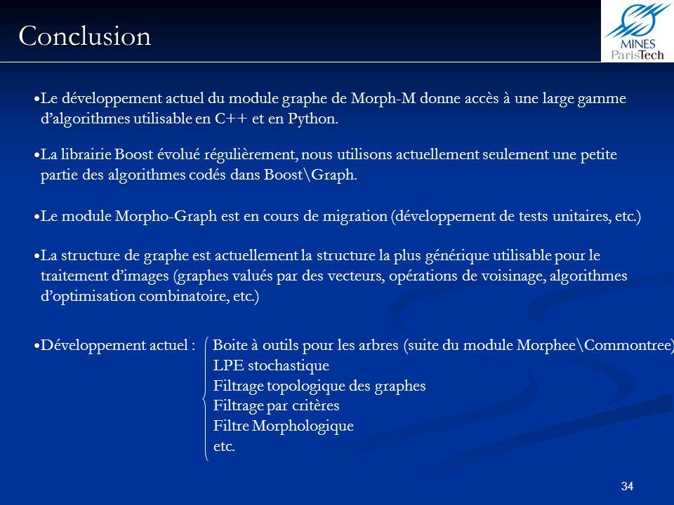 Conclusion Le développement actuel du module graphe de Morph-M donne accès à une large gamme d'algorithmes utilisable en C++ et en Python.