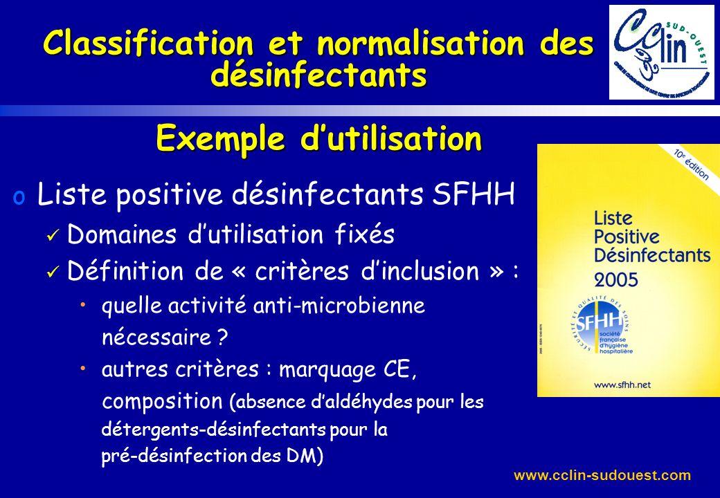 Classification et normalisation des désinfectants Exemple d'utilisation