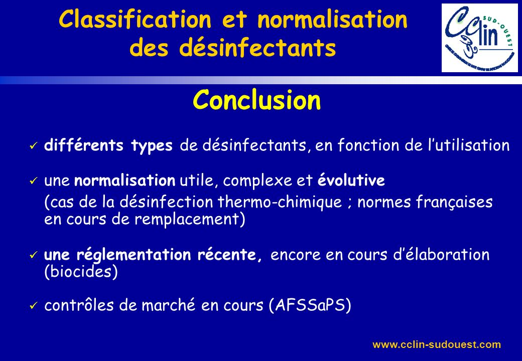 Classification et normalisation des désinfectants