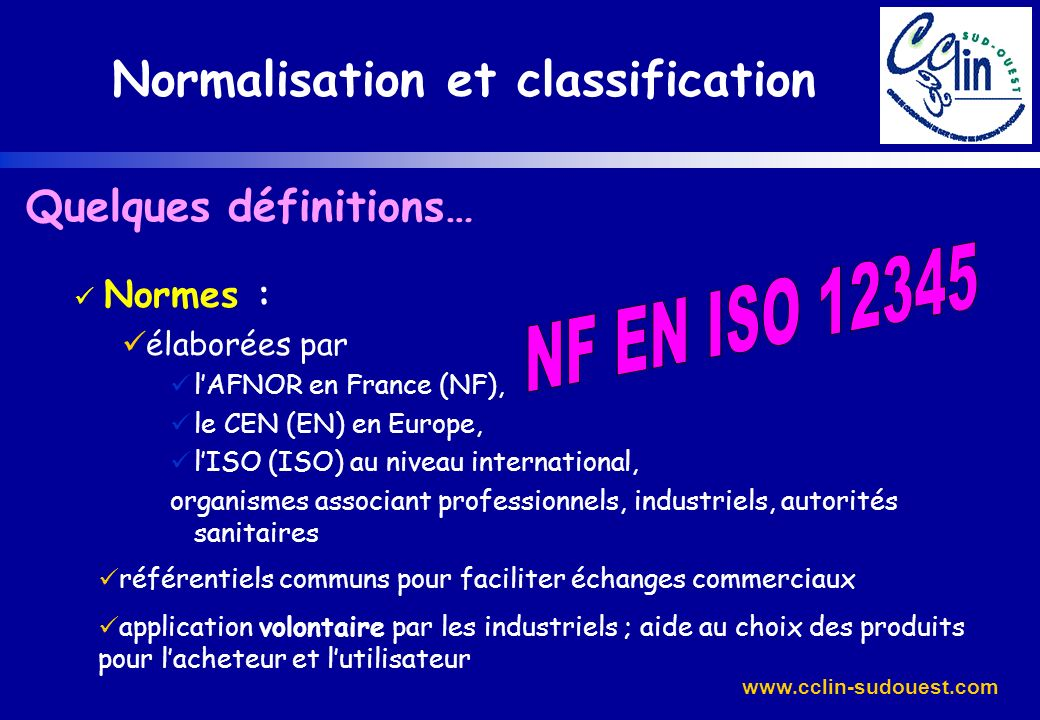 Normalisation et classification