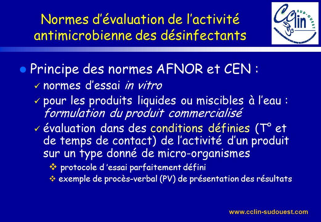 Normes d'évaluation de l'activité antimicrobienne des désinfectants