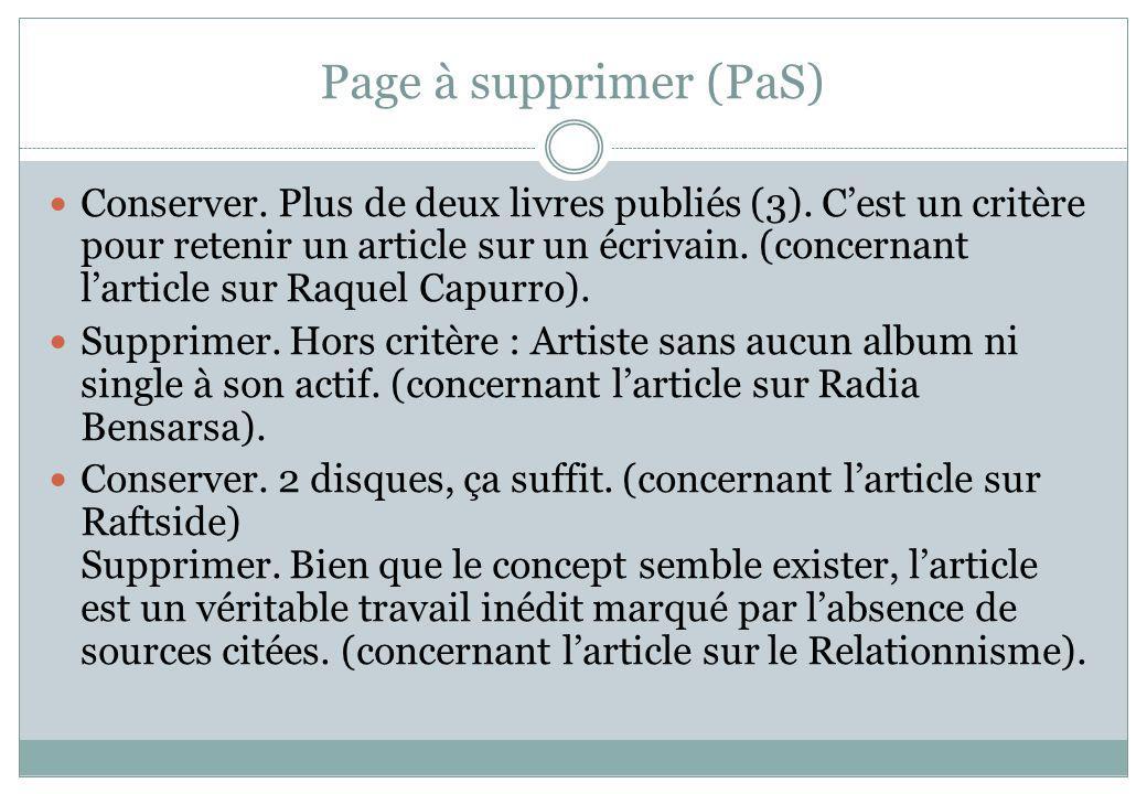 Page à supprimer (PaS)