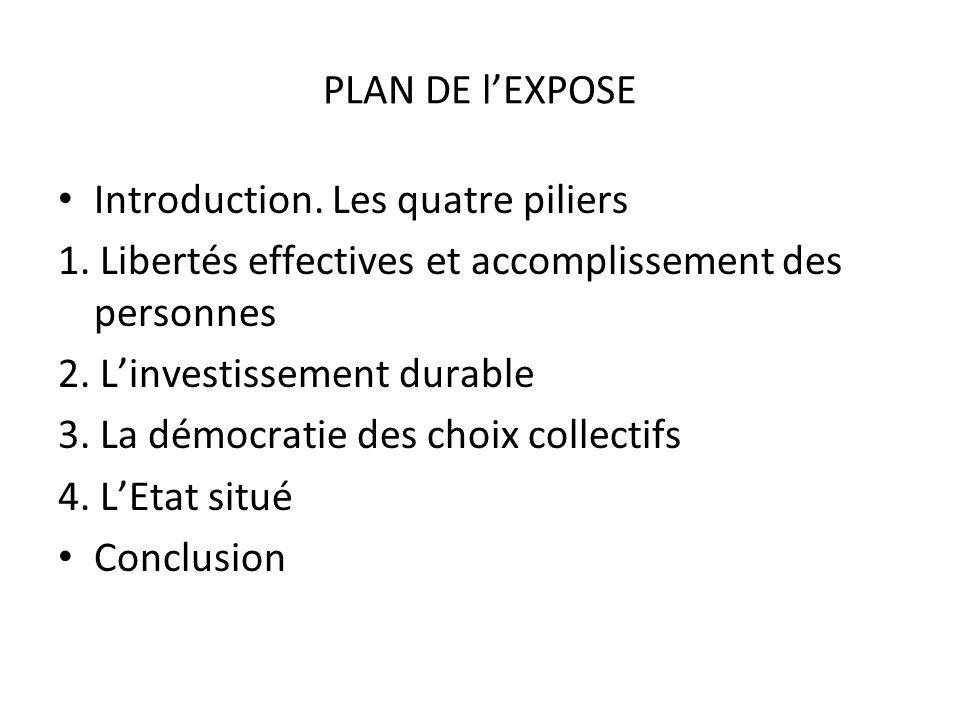 PLAN DE l'EXPOSEIntroduction. Les quatre piliers. 1. Libertés effectives et accomplissement des personnes.