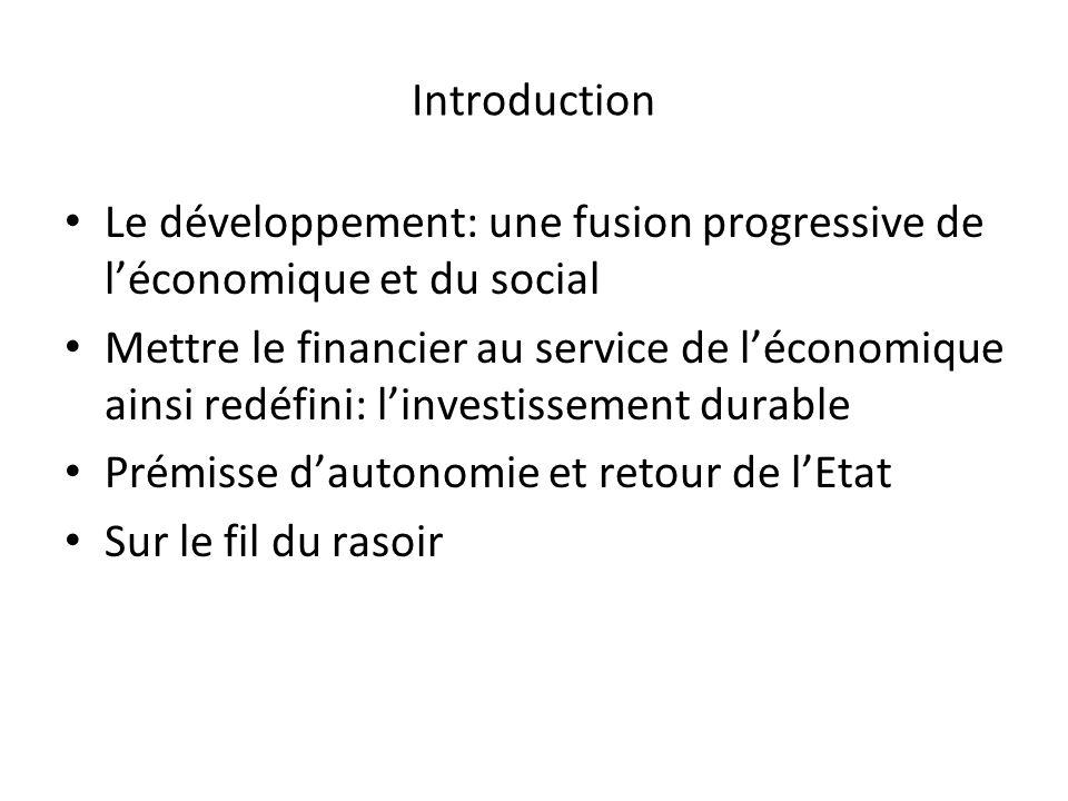 Introduction Le développement: une fusion progressive de l'économique et du social.