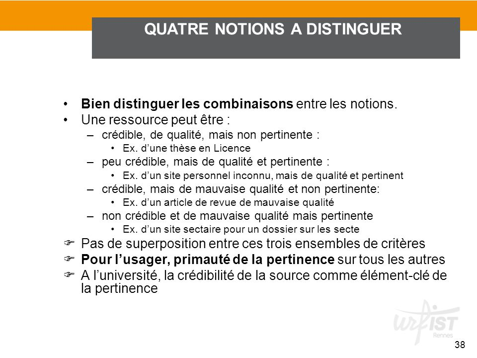 QUATRE NOTIONS A DISTINGUER