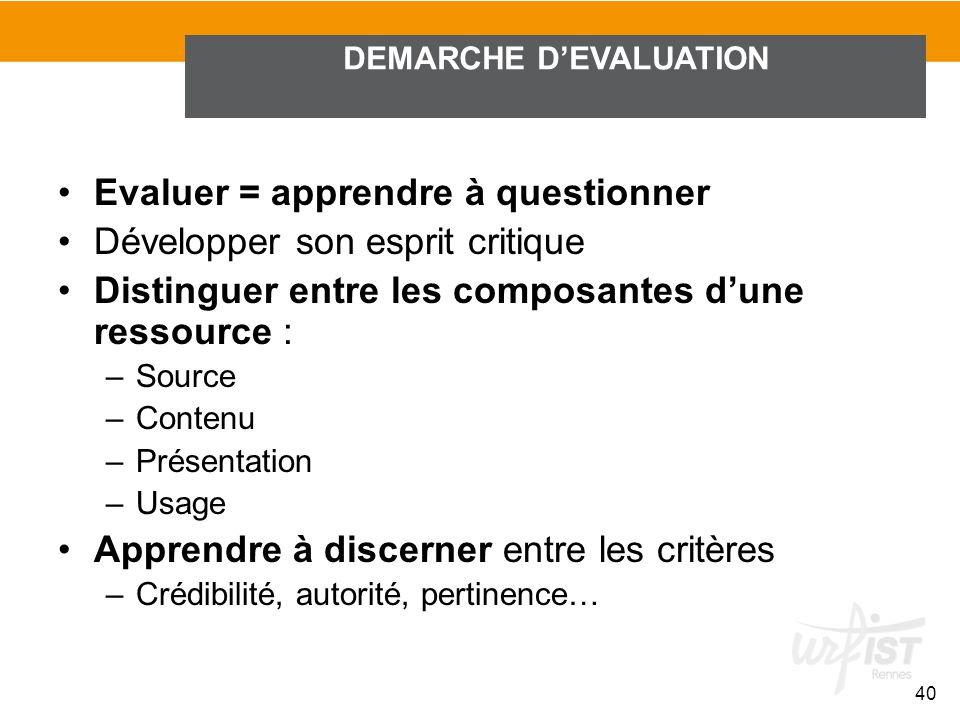 DEMARCHE D'EVALUATION