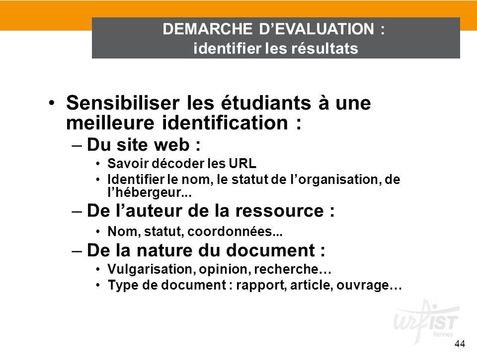DEMARCHE D'EVALUATION : identifier les résultats