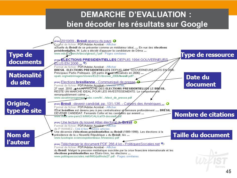 DEMARCHE D'EVALUATION : bien décoder les résultats sur Google