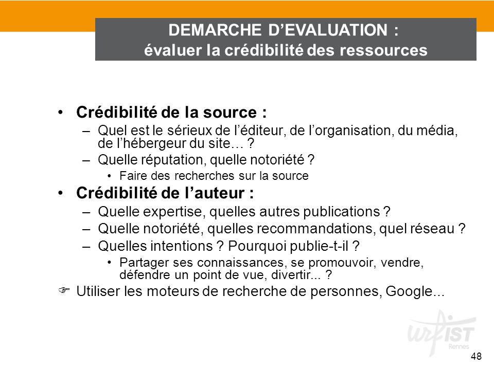 DEMARCHE D'EVALUATION : évaluer la crédibilité des ressources