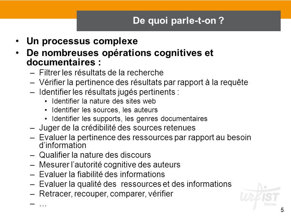 De nombreuses opérations cognitives et documentaires :