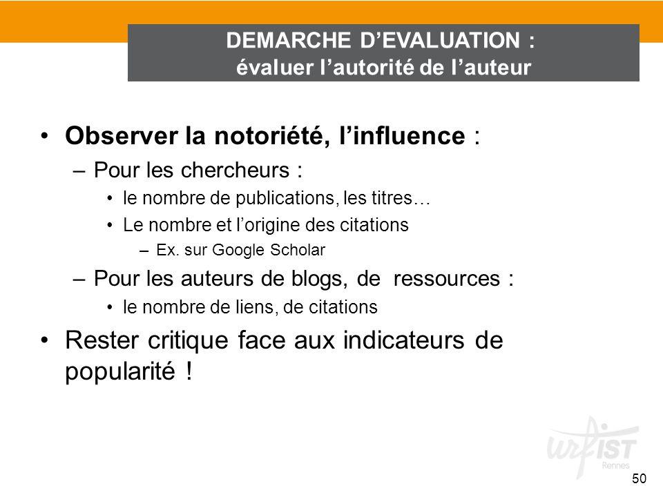 DEMARCHE D'EVALUATION : évaluer l'autorité de l'auteur