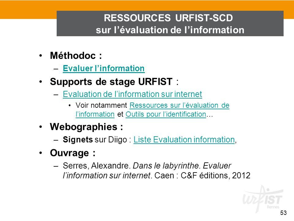 RESSOURCES URFIST-SCD sur l'évaluation de l'information