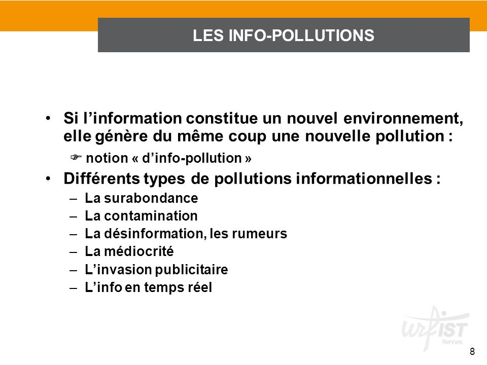 Différents types de pollutions informationnelles :
