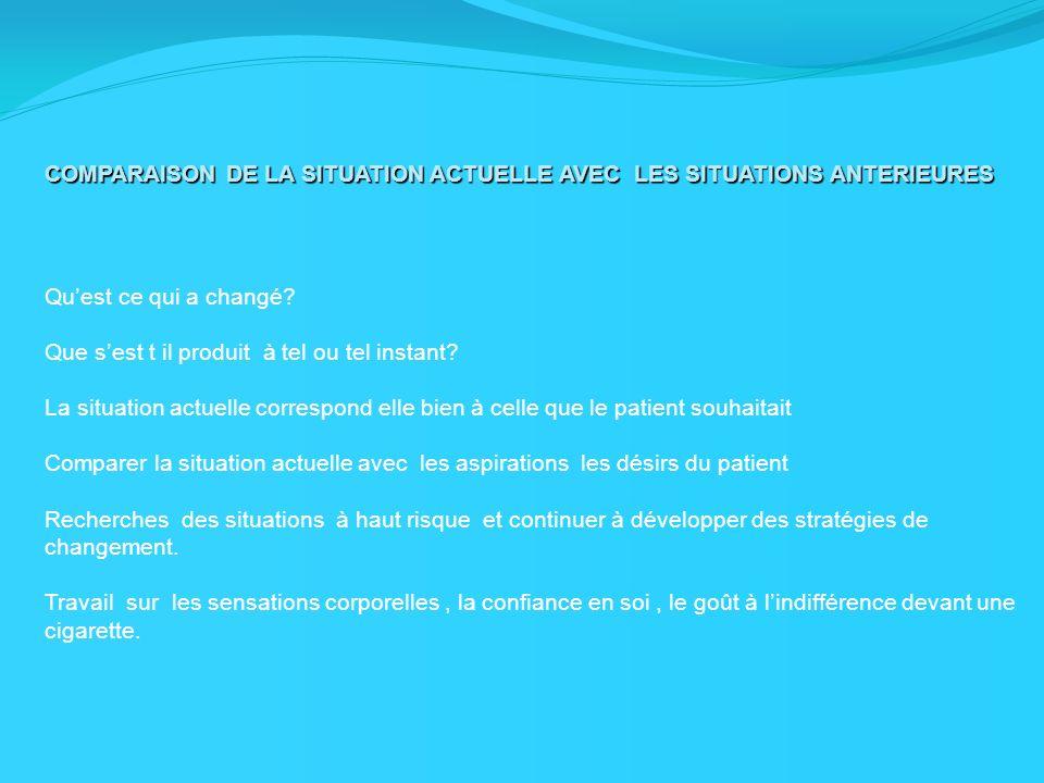 COMPARAISON DE LA SITUATION ACTUELLE AVEC LES SITUATIONS ANTERIEURES