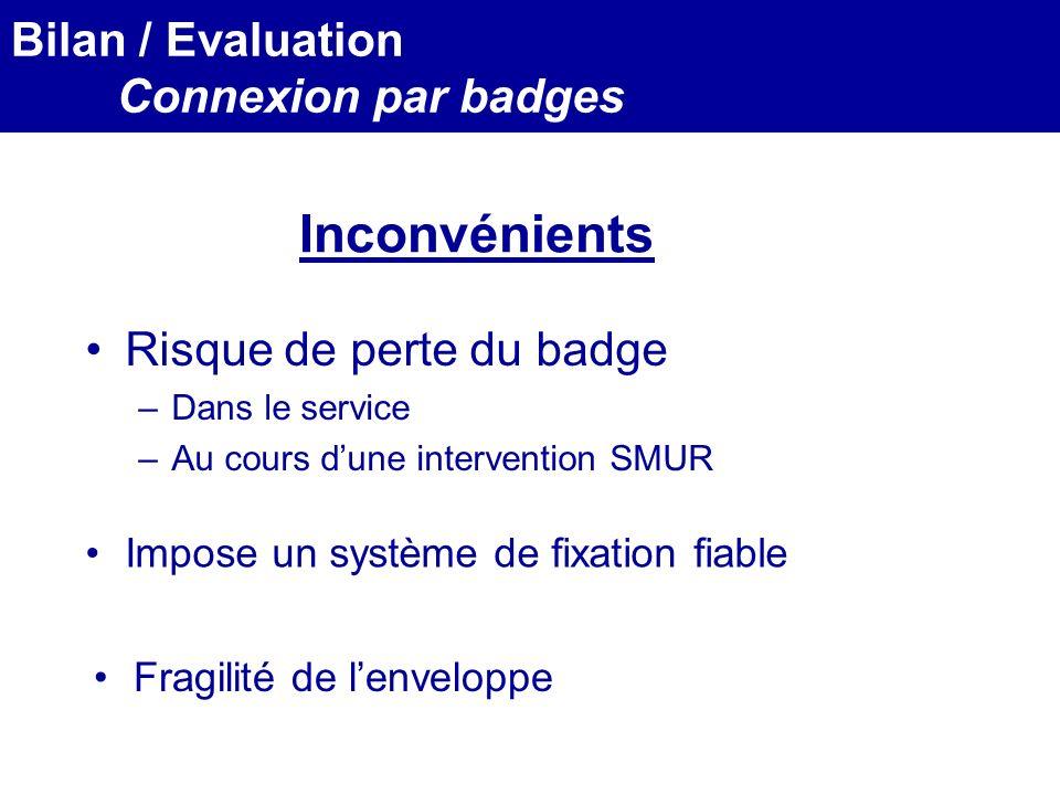 Inconvénients Bilan / Evaluation Connexion par badges