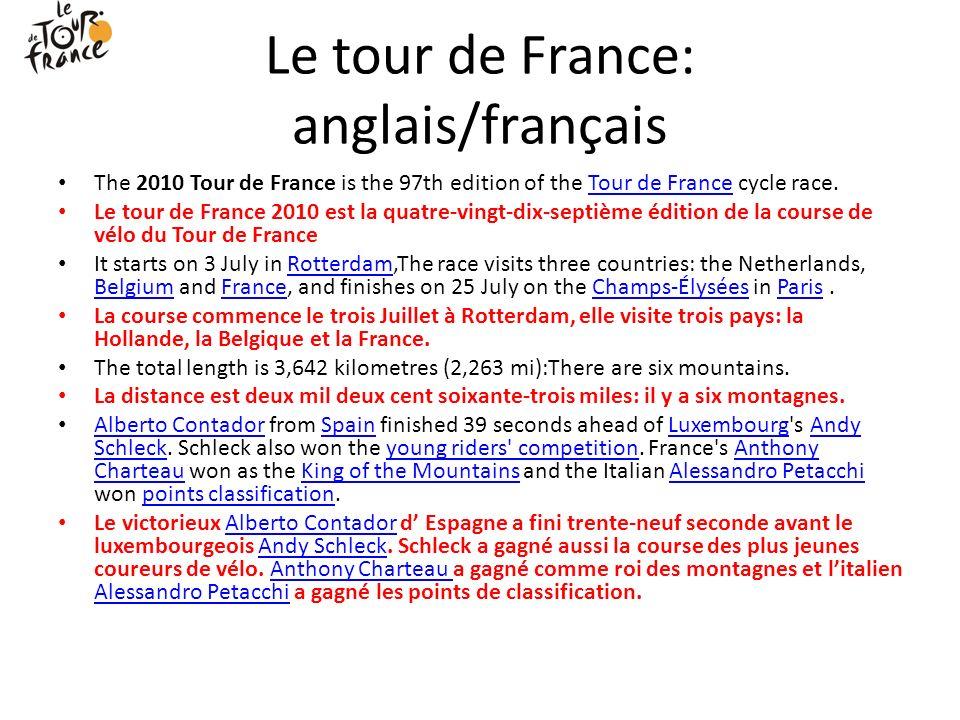 Le tour de France: anglais/français