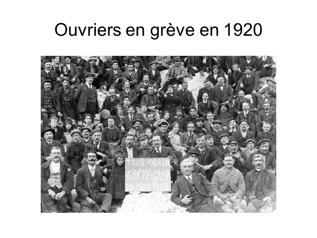 Ouvriers en grève en 1920