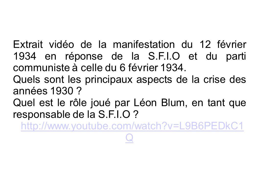 Extrait vidéo de la manifestation du 12 février 1934 en réponse de la S.F.I.O et du parti communiste à celle du 6 février 1934.
