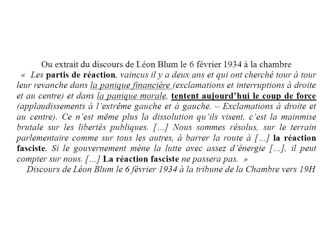Ou extrait du discours de Léon Blum le 6 février 1934 à la chambre