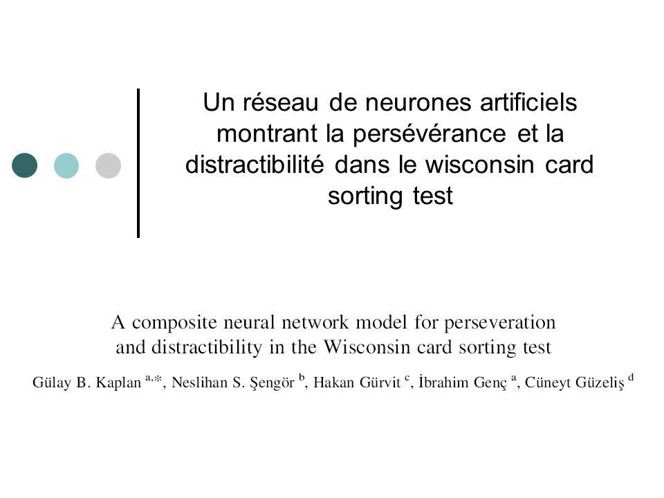 Un réseau de neurones artificiels montrant la persévérance et la distractibilité dans le wisconsin card sorting test