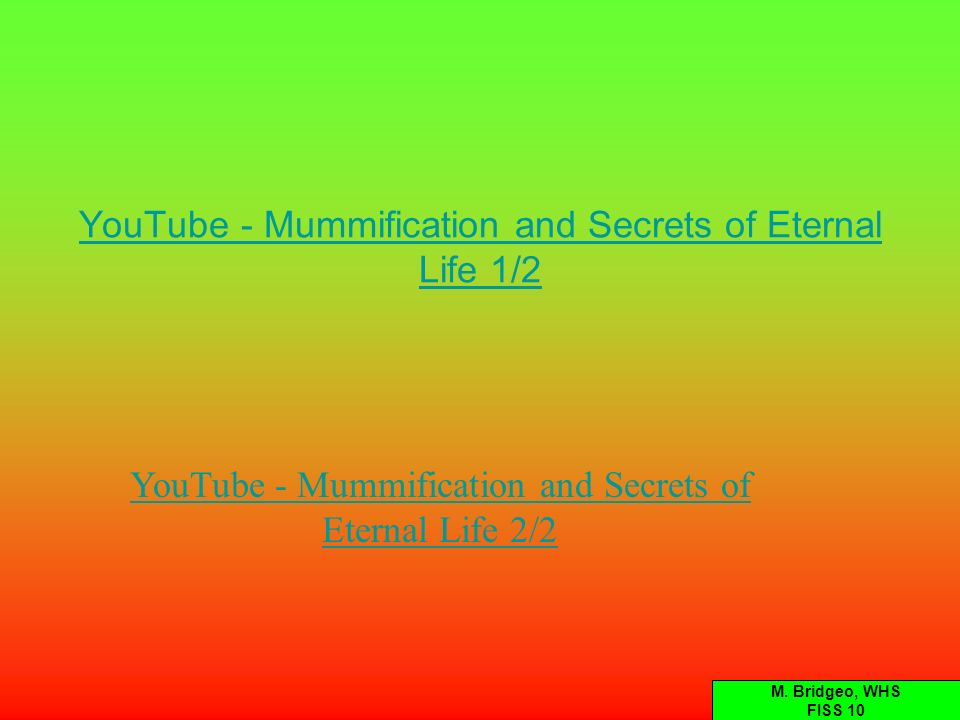 YouTube - Mummification and Secrets of Eternal Life 1/2