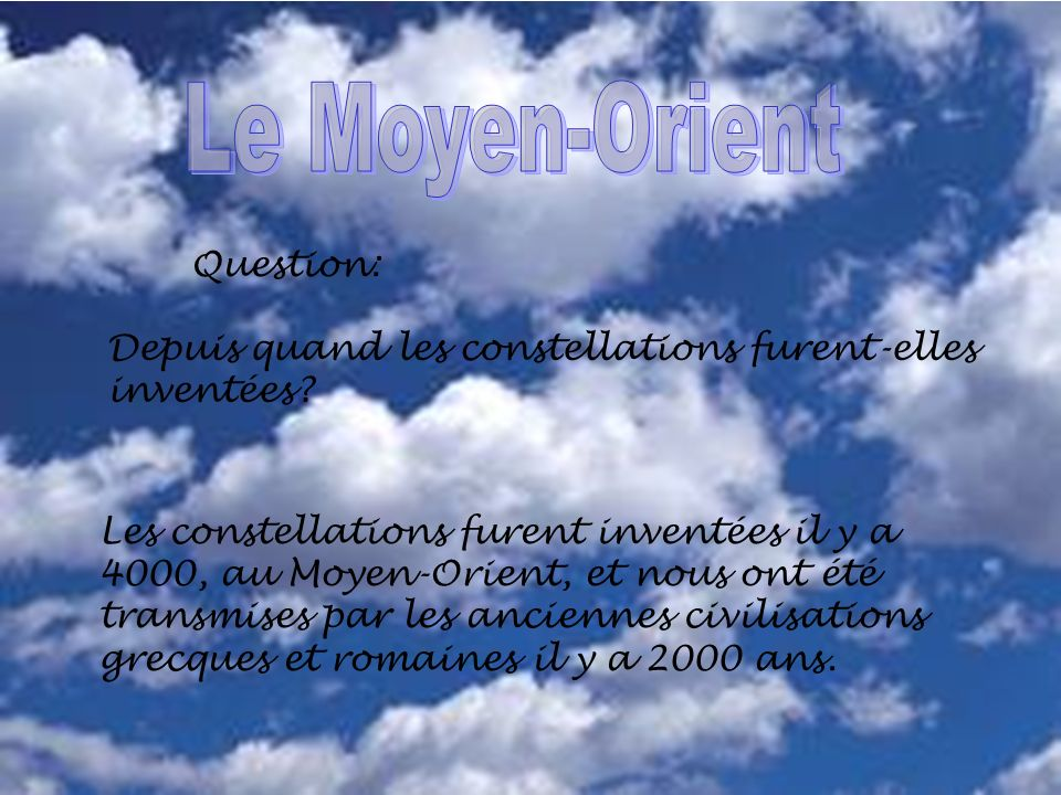 Le Moyen-Orient Question: