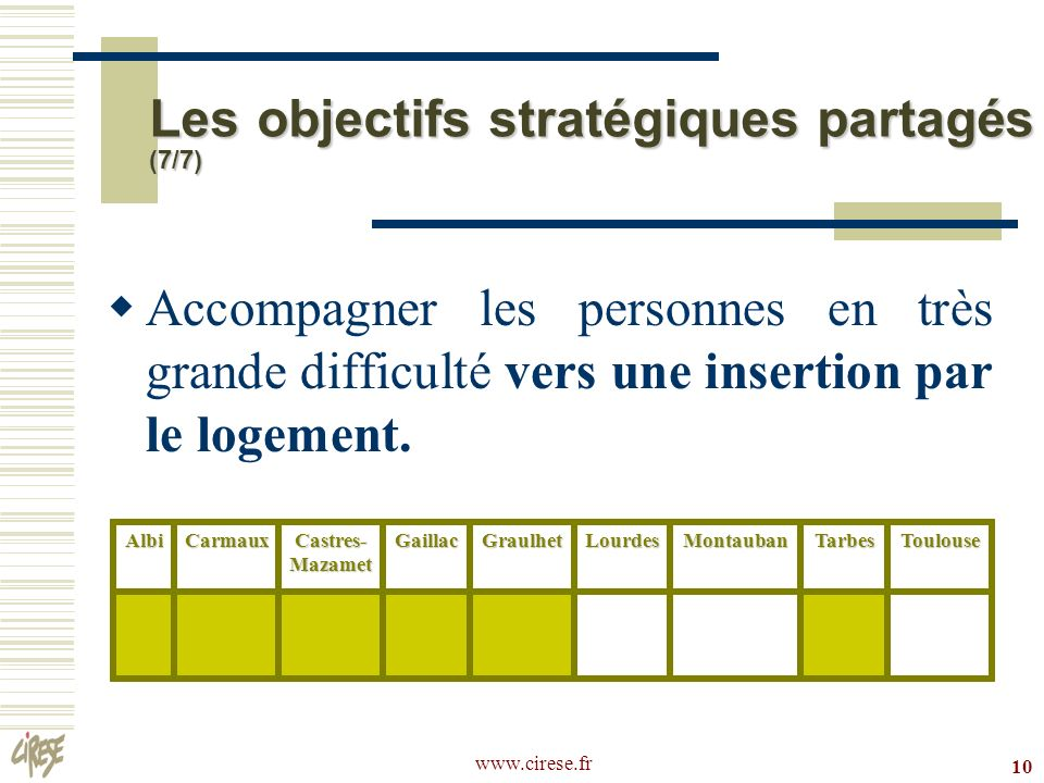 Les objectifs stratégiques partagés (7/7)