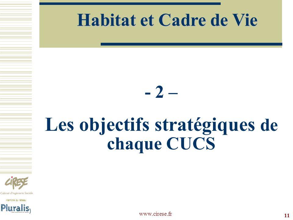 - 2 – Les objectifs stratégiques de chaque CUCS